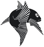 Fish. High contrast line art drawing Stock Image