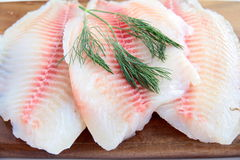 Fish. Fresh fillets of fish on a wooden board stock photo