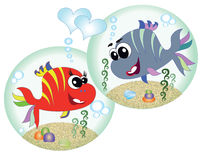 Fish. Bubbles with sea fish in love Royalty Free Stock Photography