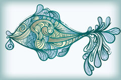 Fish. Hand drawn abstract   fish in blue Royalty Free Stock Photography