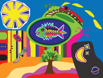 Fish. Fanatsy illustration containong fish, sun, moon, stars, trees, snake and train Royalty Free Stock Photography