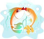 Fish. Illustration  of  fish  couples in a kissing Stock Images