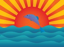 The fish. Who is jumping out of water Stock Illustration