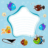 Fish. Blue background, bubbles, fish. The frame, place for text Stock Images