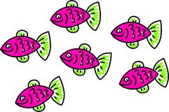 Fish. Shoal of pink fish - animal art series Stock Images