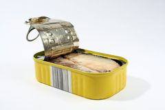 Fish. A tin of fish isolated on a white background Royalty Free Stock Images