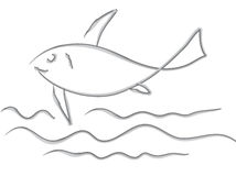 Fish. The fish of grey colour floating on sea waves Royalty Free Stock Image