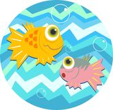 Fish. Wacky cartoon fish design with wavey ocean background Stock Photo