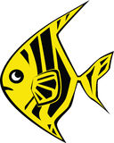 Fish. Yellow-black small fish in graphic execution Royalty Free Stock Images