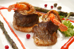 Fish. Appetizing east meal from fish and shrimps Stock Photo