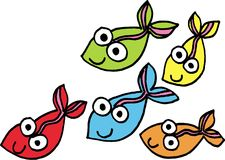 Fish. Five isolated different fish. vector image Royalty Free Stock Images