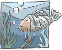 Fish. Under the blue see royalty free illustration