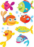 Fish. Seven fish swimming and blowing bubbles Royalty Free Stock Images