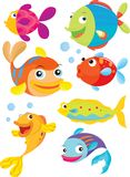 Fish. Seven fish swimming and blowing bubbles Stock Photos