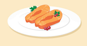Fish. Plate food dish cut vector Stock Photography