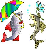 Fish. With umbrella is talking to  with flower Royalty Free Stock Photos