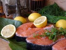 Fish. Salmon fillets Stock Images