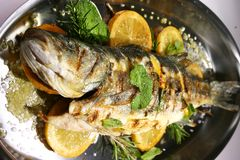 Fish. River fish with vegetables and rosemary Stock Image
