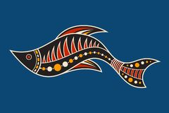Fish. Aboriginal art style. Vector color illustration isolated on blue background royalty free illustration