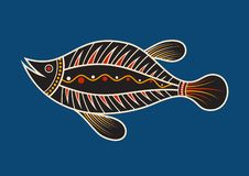 Fish. Aboriginal art style. Vector color illustration isolated on blue background stock illustration