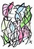 Fish Abstract. Abstraction drawing ink and watercolor Royalty Free Stock Image