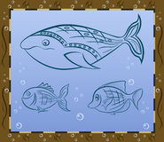 Fish. Abstract drawing of a fish underwater whale Royalty Free Stock Photos