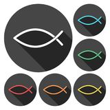 Fish Abstract icons set with long shadow. Vector icon Royalty Free Stock Image