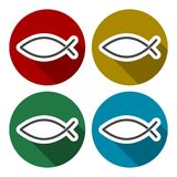 Fish Abstract icons set with long shadow. Vector icon Stock Photo