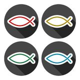 Fish Abstract icons set with long shadow. Vector icon Stock Image