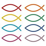 Fish Abstract icons set. Vector icon Royalty Free Stock Photography