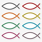 Fish Abstract sticker set. Vector icon Royalty Free Stock Photography