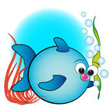 Fish, air bubbles and anemone - Kids illustration stock photo
