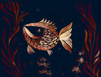 Fish, algae, vesicles - decorative composition. Watercolor. Use printed materials, signs, items, websites, maps, Stock Image
