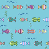 Fish and algae in the water pattern.  Royalty Free Stock Image