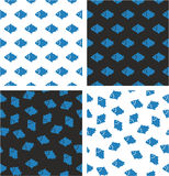 Fish Aligned & Random Seamless Pattern Blue Color Set Stock Photos