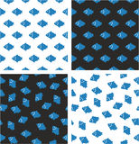 Fish Aligned & Random Seamless Pattern Blue & White Color Set. This image is a illustration and can be scaled to any size without loss of resolution Royalty Free Stock Photos