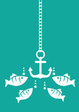 Fish and Anchor Underwater Vector Illustration Stock Photo