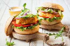 Fish And Crab Burgers Royalty Free Stock Photography