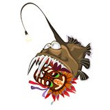 Fish an angler holds in the teeth an ancient tribal mask. Animals of the deep sea is isolated on a white background.  Royalty Free Stock Photo