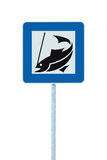 Fish angling camp road sign isolated pole post Stock Images