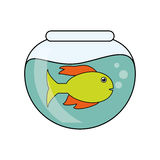 Fish animal cartoon inisde bowl design. Fish animal cartoon inside bowl icon. Sea life ecosystem fauna and ocean theme. Isolated design. Vector illustration Stock Photography