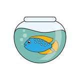 Fish animal cartoon inisde bowl design. Fish animal cartoon inside bowl icon. Sea life ecosystem fauna and ocean theme. Isolated design. Vector illustration Stock Images