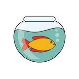 Fish animal cartoon inisde bowl design. Fish animal cartoon inside bowl icon. Sea life ecosystem fauna and ocean theme. Isolated design. Vector illustration Stock Photo