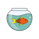 Fish animal cartoon inisde bowl design. Fish animal cartoon inside bowl icon. Sea life ecosystem fauna and ocean theme. Isolated design. Vector illustration Royalty Free Stock Photos