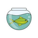 Fish animal cartoon inisde bowl design. Fish animal cartoon inside bowl icon. Sea life ecosystem fauna and ocean theme. Isolated design. Vector illustration Royalty Free Stock Photography
