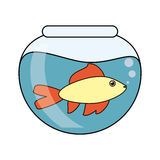 Fish animal cartoon inside bowl design. Fish animal cartoon inside bowl icon. Sea life ecosystem fauna and ocean theme. Isolated design. Vector illustration Royalty Free Stock Photos