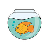 Fish animal cartoon inside bowl design. Fish animal cartoon inside bowl icon. Sea life ecosystem fauna and ocean theme. Isolated design. Vector illustration Stock Photography