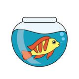 Fish animal cartoon inside bowl design. Fish animal cartoon inside bowl icon. Sea life ecosystem fauna and ocean theme. Isolated design. Vector illustration Royalty Free Stock Images