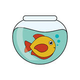 Fish animal cartoon inside bowl design. Fish animal cartoon inside bowl icon. Sea life ecosystem fauna and ocean theme. Isolated design. Vector illustration Stock Photo
