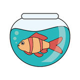 Fish animal cartoon inside bowl design. Fish animal cartoon inside bowl icon. Sea life ecosystem fauna and ocean theme. Isolated design. Vector illustration Stock Image